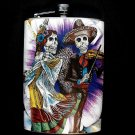 Stainless Steel Flask - 8oz., Day of the Dead Couple with Purple and White Flower Background