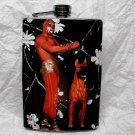 Stainless Steel Flask - 8oz., Luche Libre Man with Dog, Black Background