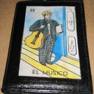 "Hand Decorated Black Mini Wallet, Loteria Image ""El Musico"" Print"