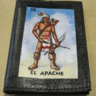 "Hand Decorated Black Mini Wallet, Loteria Image ""El Apache"" Print"