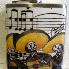Stainless Steel Flask - 6oz., Day of the Dead Band with Music Note Background