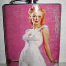 Stainless Steel Flask - 6oz., Pin Up Girl in White with Pink Background