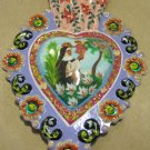 Hand Painted Metal Sacred Heart, Nun and Angel Picture in Center