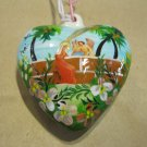 Two Sided, Hand Painted Porcelain Heart, Virgin Mary with Angel