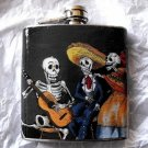 Stainless Steel Flask - 6oz., Day of the Dead Trio Playing Guitar