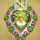 Hand Painted Tin Heart Ornament, Crowned Child Picture in Center