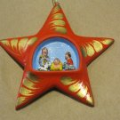 Hand Made and Painted Clay Star Nativity Scene, Ornament