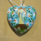 Two Sided, Hand Painted Porcelain Heart, Virgin Mary and Jesus with Angel
