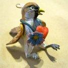 Hand Painted Clay Bird with Flower Necklace and Heart, Hanger/Ornament