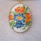 Oval Cameo Necklace, Blue and Orange Flowers