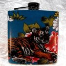 Stainless Steel Flask - 6oz., Tiger with Flower Background