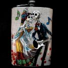Stainless Steel Flask - 8oz., Day of the Dead Music Couple with Music Note Background