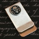 Money and Card Clip with Silver Skull and Crossbones Embellishment