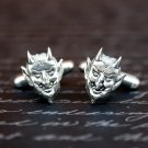 Hand Made Cuff Links, Silver Little Devil Faces