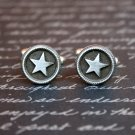 Hand Made Cuff Links, Silver Stars in Circles