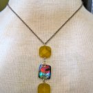 Yellow Carnelian Stones with Multi-Color Glass Bead, Silver Chain Necklace