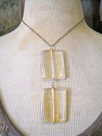 Double Drop Gold Fleck Enamel Squares, Silver Chain Necklace