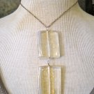 Double Drop Gold Fleck Enamel Squares, Silver Chain Necklace