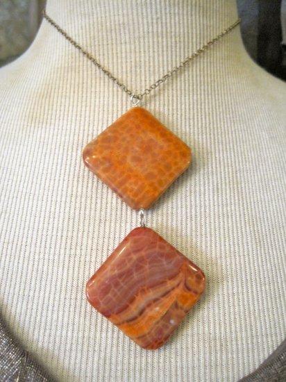 Double Pendant Orange Agate Stone, Silver Chain Necklace