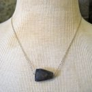 Dark Purple Carved Stone Pendant on Silver Chain Necklace