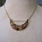 Vintage Japanese Half Moon Colorful Pendant on Gold Chain Necklace