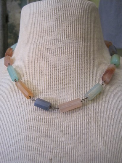 Hand Made Multi Colored Chalcedony Barrel Stone Beaded Necklace