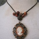 70's Wood Cameo Pendant with Handmade Glass Beads on Leather Cord, Necklace
