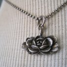 Hand Carved Silver Metal Rose Pendant on Silver Ball Chain, Necklace