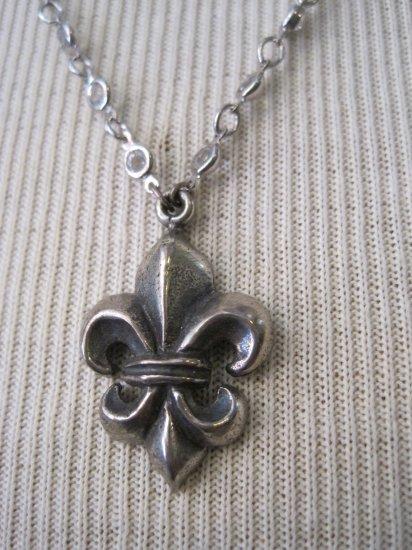 Silver Fleur De Lis Pendant on Silver Wrapped Crystal Necklace