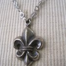 Silver Fleur De Lis Pendant on Silver Wrapped Crystal Necklace