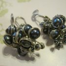 """Hand Made Gray Pearl """"Grapes"""", Wrapped in Silver, Earrings"""