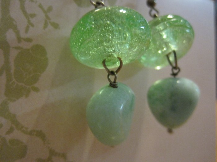 Hand Made Green Glass Beads with Mint Colored Stones, Earrings