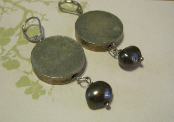 Silver Disc Pendants with Gray Pearl Beads, Earrings