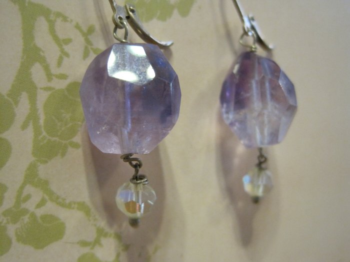 Cut Amethyst Stones with Clear Crystal Beads, Earrings