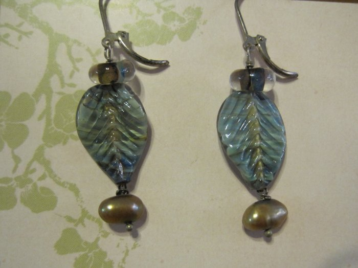 Hand Blown Glass Leaf Pendants with Tan Pearls, Earrings