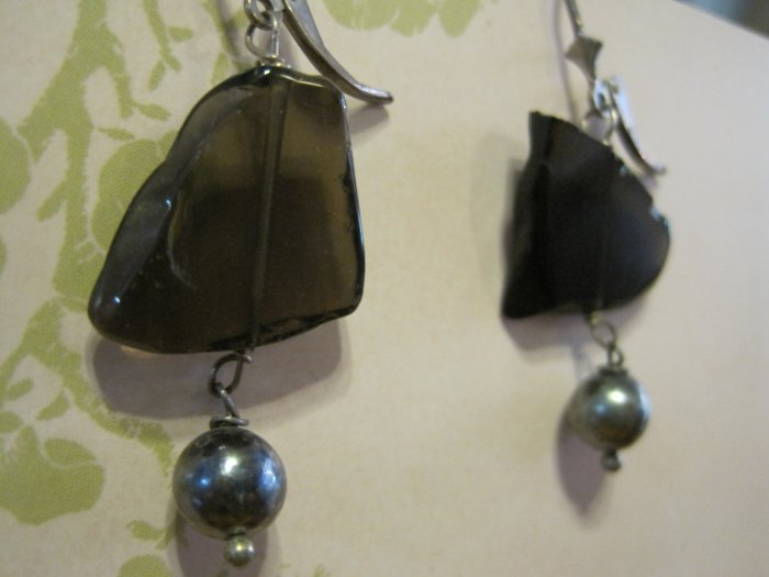 Gray Glass Pieces with Gray Pearls, Earrings