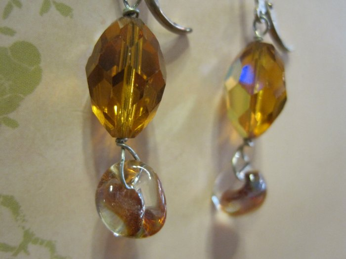 Amber Colored Swarovski Crystals with Hand Blown Glass Beads, Earrings