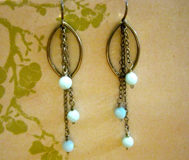 Blue Stone Beads, Silver Chians, Sterling Silver Hoops, Earrings