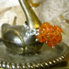 "Hand Made Orange Stones Wrapped with Silver Wire, ""Daisy"" Ring, Size 6"