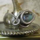 Green Stone Wrapped with Thick Silver Wire, Hand Made Ring, Size 5