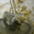 "Yellow and Clear Quartz Stone ""Flower"" on Hand Braided Silver Wire Ring, Size 4.5"