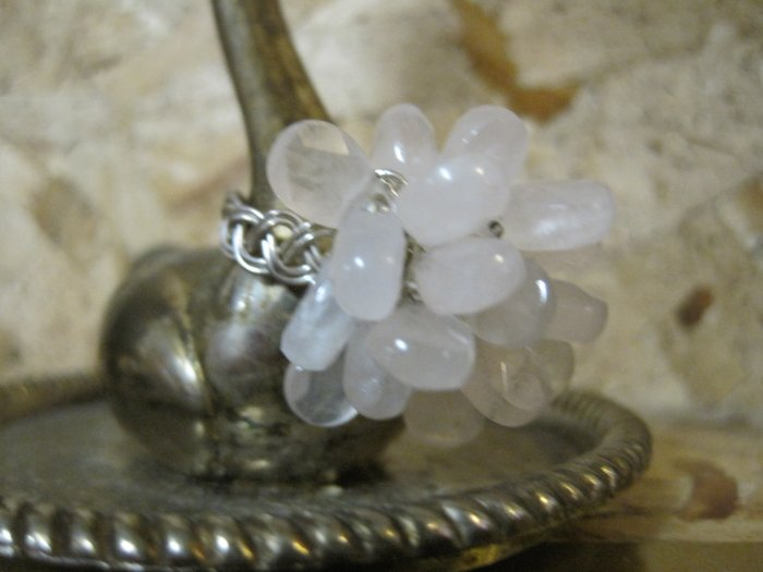 """Pink Quartz Stone """"Flower"""" on Hand Braided Silver Wire Ring, Size 6"""