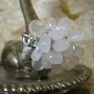 "Pink Quartz Stone ""Flower"" on Hand Braided Silver Wire Ring, Size 6"