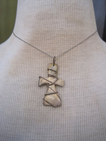 Hand Made Silver Cross Pendant Wrapped in Thick Silver Wire, Necklace