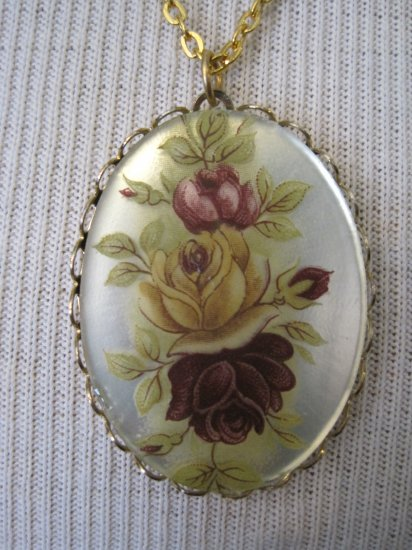 Yellow and Purple Roses on Mirror Cameo Pendant,  Necklace