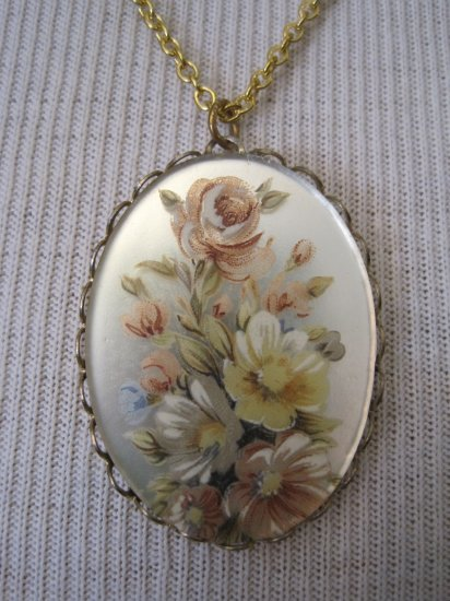 Pink and Yellow Roses on Mirror Cameo Pendant, Necklace