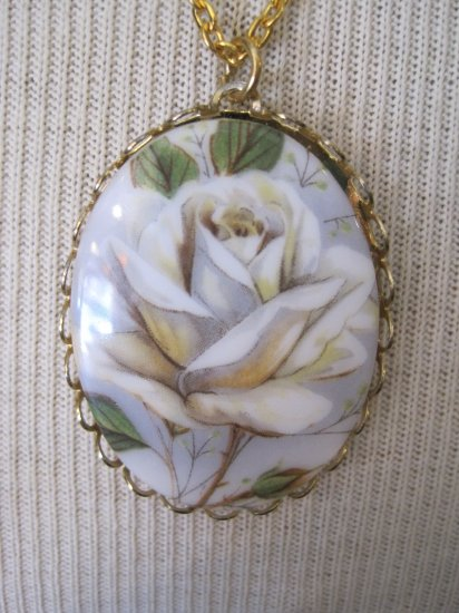White Rose Cameo Pendant, Necklace