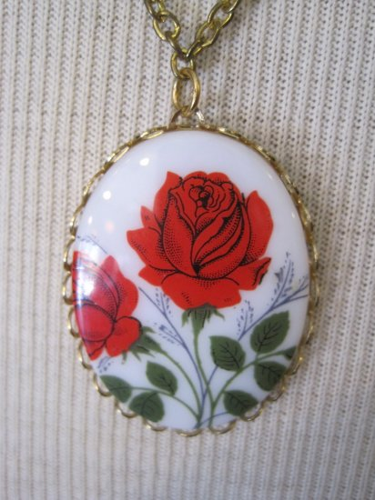 Red Rose Cameo Pendant, Necklace