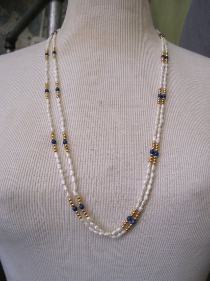Vintage Double Strand Pearl and Blue Stone Beads, Necklace