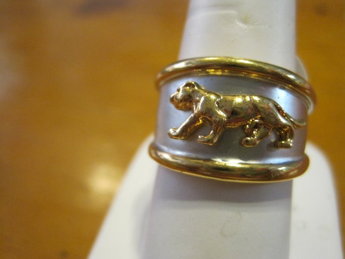 Silver and Gold Sigle Panther Ring